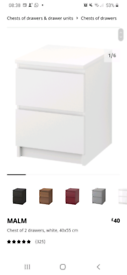 IKEA malm 2 drawer bedside