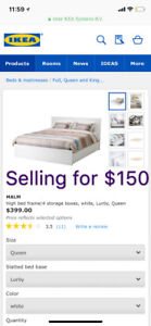 Ikea Malm Queen Bed with 4 storage boxes