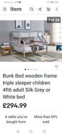 Triple bunk bed grey with brand new mattress