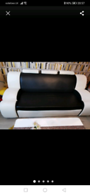 Black & white sofabed faux leather