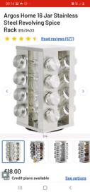 Argos Home 16 Jar Stainless Steel Revolving Spice Rack