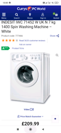 Indesit washing machine+ fridge