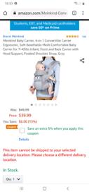 Meinkind 4 in1 baby carrier