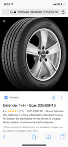 (Sold out)Used All season 235/60/R18 Michelin Defender tires