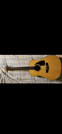 Acoustic Fender Guitar with Soft Travel Case