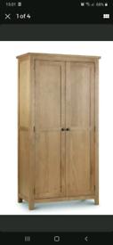 Wardrobe oak double with chrome handles