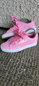 Puma Basket Limited Edition Pink Trainers Size 4 UK Xmas