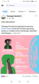 Teenage Fanclub tickets for sale x2