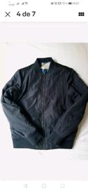 Faux leather bomber black jacket