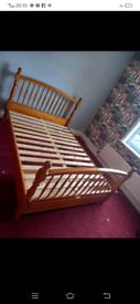 Pine wood Double bed with storage underneath