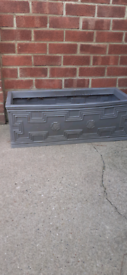 Grey Plastic Stone Effect Garden Planter Flower Bed