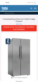 Beko American style fridge