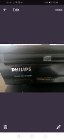 Harman kardon amp, Philips cd723 player, and kenwood speakers LS - 63