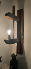 Vintage large wooden clamp wall lamp