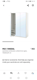 Ikea pax mirrored wardrobe