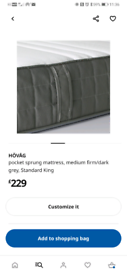 King size ikea bed and mattress very good condition