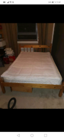 Used pine double bed frame
