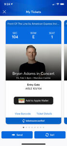 Bryan Adams pair of tickets St Catharines