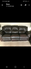 Brown leather, reclining sofas