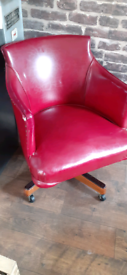 1950s american office red swivel chair