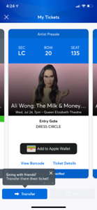 Ali Wong: the milk and money tour two tickets for sale