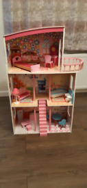 Lovely 3 storey dolls house and furniture.