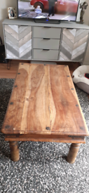 Large heavy wooden coffee table