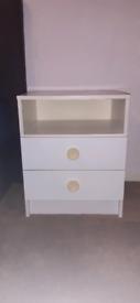 2 white bedside cabinets