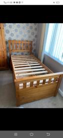 Oak wood single bed with 3 storage underneath