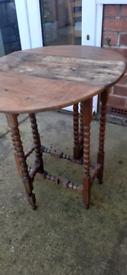 Vintage Antique Small Gate Legged Table Barley Twist Legs Circa 1800