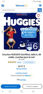 50 couches Huggies Overnites taille 6