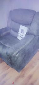 Grey fabric recliner