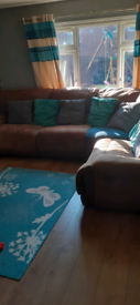 Large recliner suede corner sofa