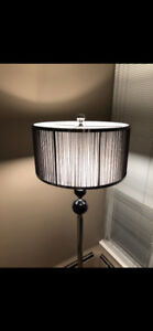 Tall modern floor lamp with black crystals