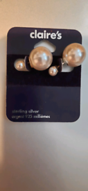 Silver 925 Claire's faux pearl earrings