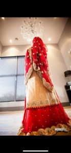 Lehnga red and baige