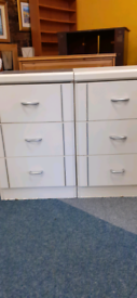 X2 white bedside drawers both