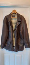 Retro dark brown leather jacket XXL