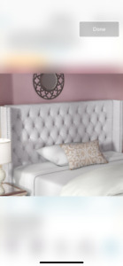 Brand new candice tufted and winged headboard by rosdorf park