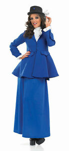 LADIES-VICTORIAN-EDWARDIAN-LADY-BLUE-FANCY-DRESS-COSTUME-OUTFIT-HAT-NEW
