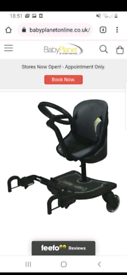 Buggy board with seat, steering wheel and flashing wheels