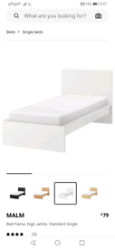 White IKEA malm single bed