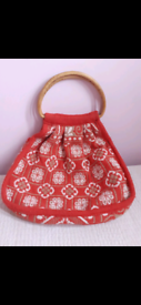 Vintage Knitting Bag With Bamboo Handles