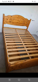 Pine wooden Double bed frame in excellent condition