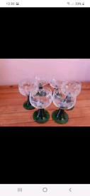 Six Vintage French Green Stemmed Wine Glasses