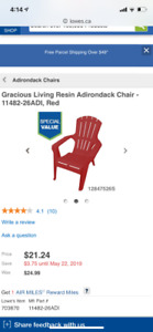 Two Adirondack chairs and a side table - for patio - all in red