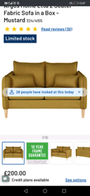 Mustard 2 seater etta sofa from argos. For sale now for £200