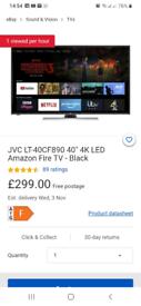 "JVC Fire TV Edition 40"" Smart 4K Ultra HD HDR LED TV with Amazon Alexa"