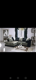 Bella 3 + 2 or corner Seater Crushed Black And Silver Sofa available