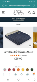 Navy blue herringbone throw £40